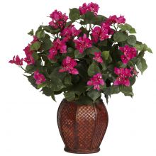 Bougainvillea Silk Plant and Vase Silk Floral Arrangement