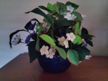 Blue Bowl of Purple and White Violets