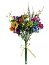 "Artificial Hydrangea, Petunia, Daisy, Ranunculus, Bouquet in Yellow, Orange, Green, Blue, and Purple 24"" Tall"