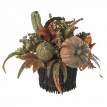 Artificial Pumpkin and Berry Table Arrangement