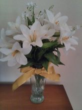 White Silk Lilies Lilies of the Valley Bouquet
