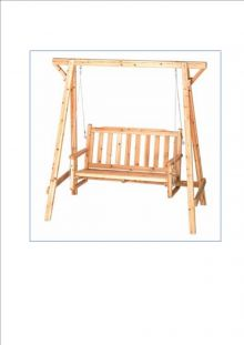 Natural Wood Garden Love Seat Swing