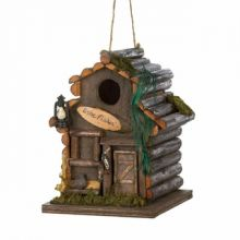 Small Rustic Wooden Fishing Cabin Birdhouse